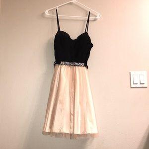 Champagne & Black semi formal dress.